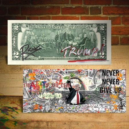DONALD TRUMP Art of the Deal Sea of Money Genuine $2 U.S. Bill SIGNED by Rency