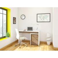 Nexera Liber-T Reversible Desk Panel & 3-Drawer Filing Cabinet, White & Walnut