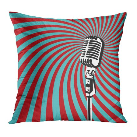 ECCOT Party Retro Microphone for Karaoke Parties Mike Mic Festival Music Radio PillowCase Pillow Cover 16x16 inch