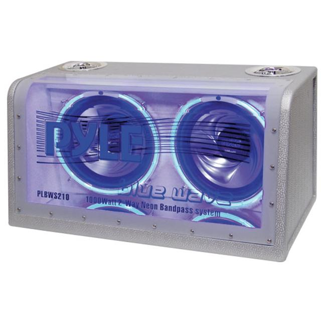 Pyle PLBWS212 Dual 12 in. 1200 Watt Bandpass with Neon Woofer Rings Enclosure System
