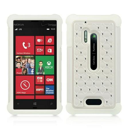 DreamWireless SCANK928STDCKWT-WT Nokia Lumia 928 Compatible Hybrid Diamond Decor Case White Skin Plus
