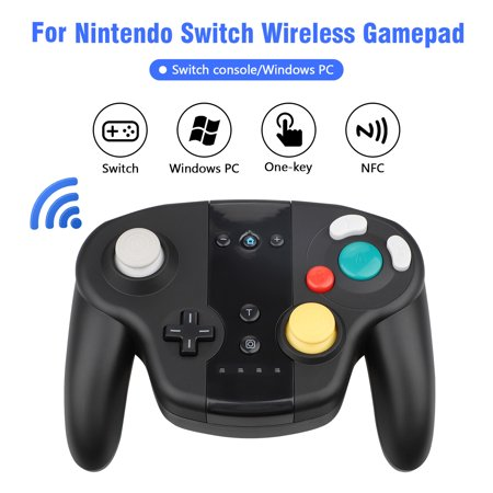 EEEkit Wireless Controller Gamepad for Nintendo Switch, Compatible with PC / PS3, Gamecube Style, Rechargeable, Motion Controls(Black)