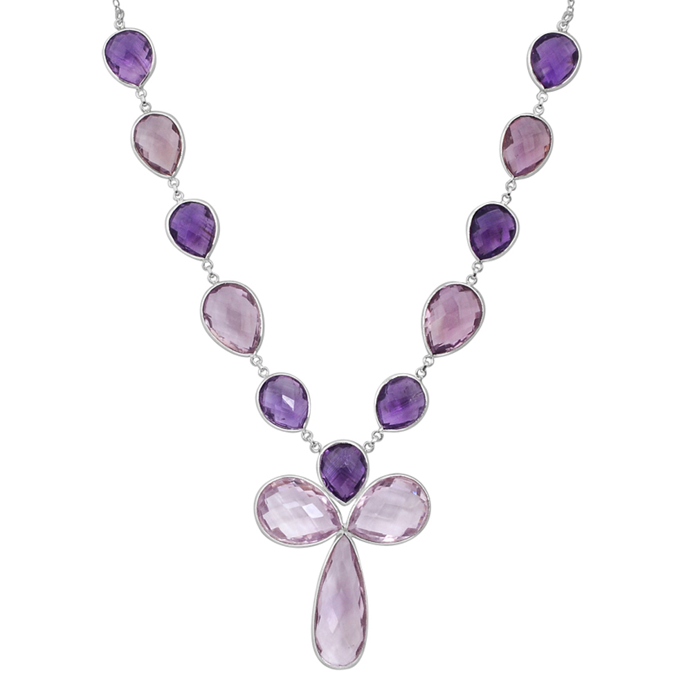 Orchid Jewelry Solid Sterling Silver 112 5 7 Carat Amethyst Gemstone Necklace by Orchid Jewelry Mfg Inc