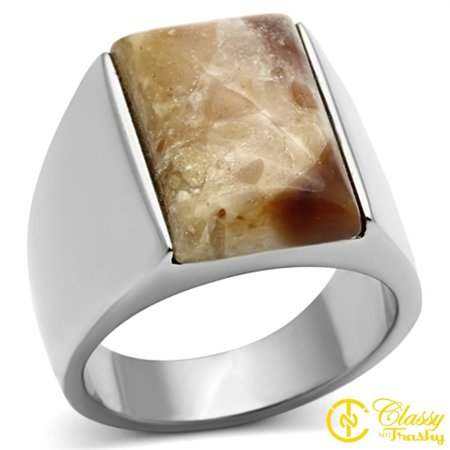 Classy Not Trashy® Men's Stainless Steel Brown Agate Wide Band Dome Shaped Ring - Size 10
