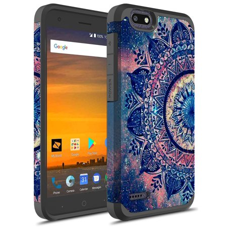 ZTE Tempo X Case, ZTE Blade Vantage Case, ZTE Avid 4 Case, KAESAR SLIM SLEEK DROP PROTECTION Hybrid Dual Layer Cover Graphic Fashion Colorful Silicone Skin for ZTE N9137 (Purple Mandala)