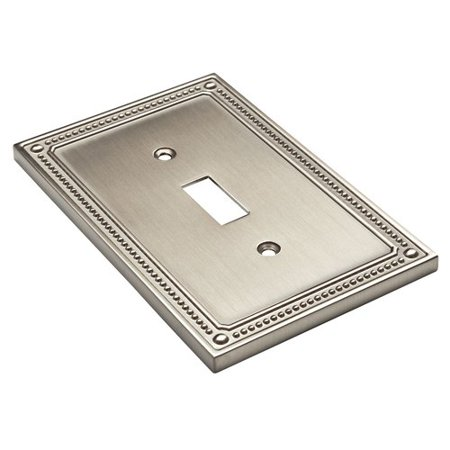 Franklin Brass Classic Beaded Single Switch Wall Plate in Satin Nickel