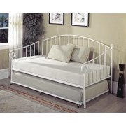 twin size white metal day bed frame with pop up high riser trundle headboard - Day Bed Frames