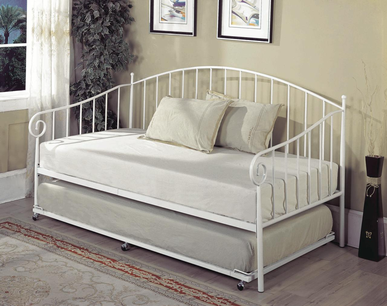 twin size white metal day bed frame with popup high riser trundle headboard