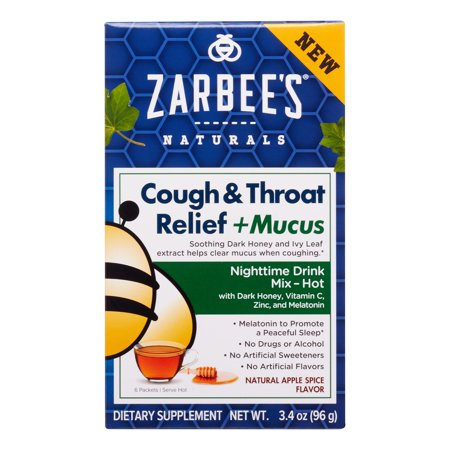 Reel Natural (Zarbee's Naturals Cough & Throat Relief + Mucus Nighttime Drink Mix with Dark Honey, Vitamin C, Zinc & Real Elderberry, Natural Apple Spice Flavor, 6 Packets)
