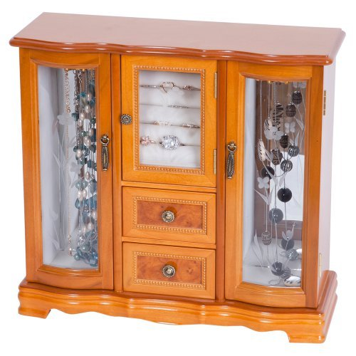 Mele Designs Lyra Glass Door Jewelry Box, Burlwood Oak Finish