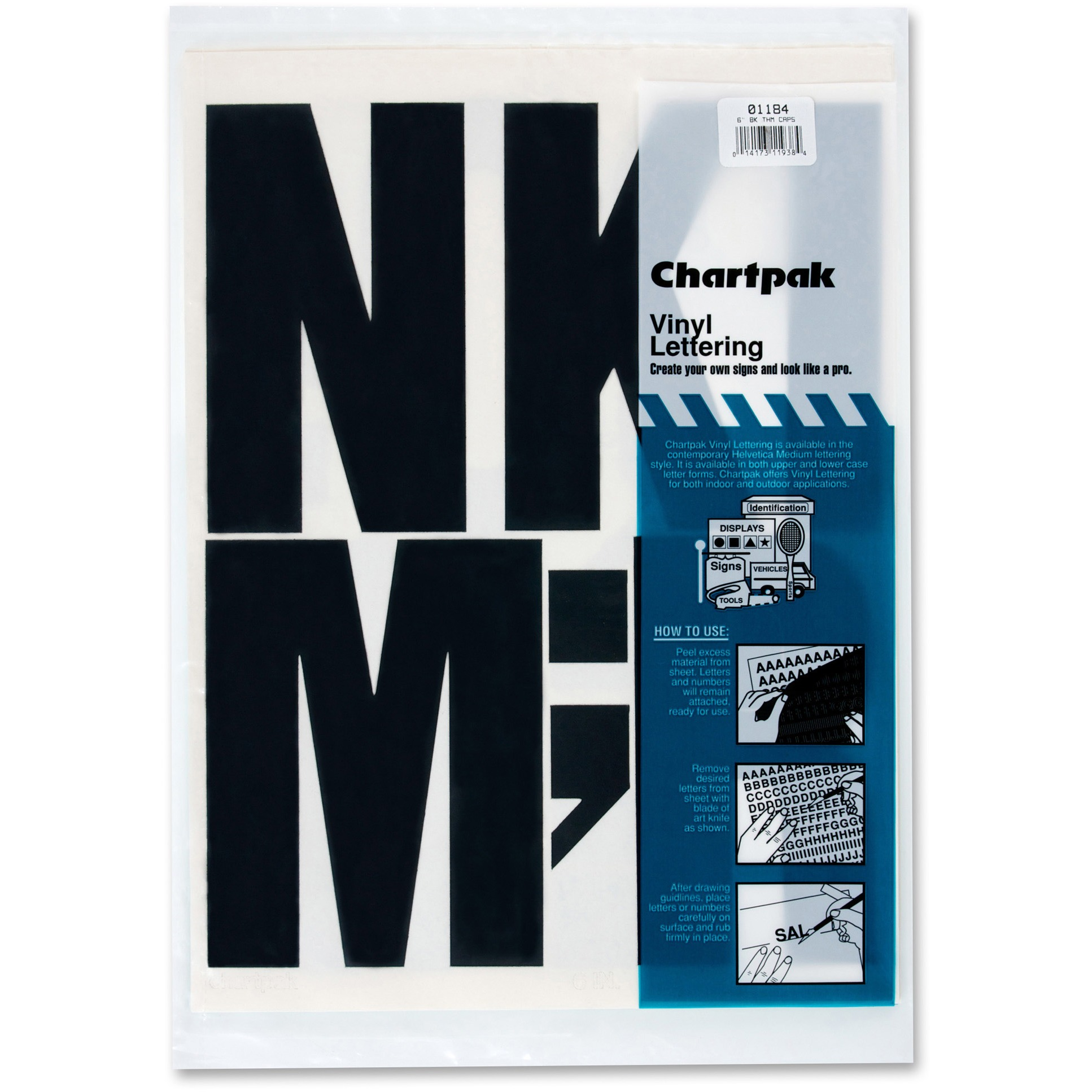 "Chartpak Press-On Vinyl Uppercase Letters, Self Adhesive, Black, 6""h, 38/Pack"