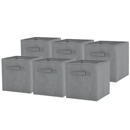 6 Pack Foldable Cube Storage Bins Fabric Closet Shelf Drawer Organizers Baskets Light Grey Books Clothes Toys Snacks