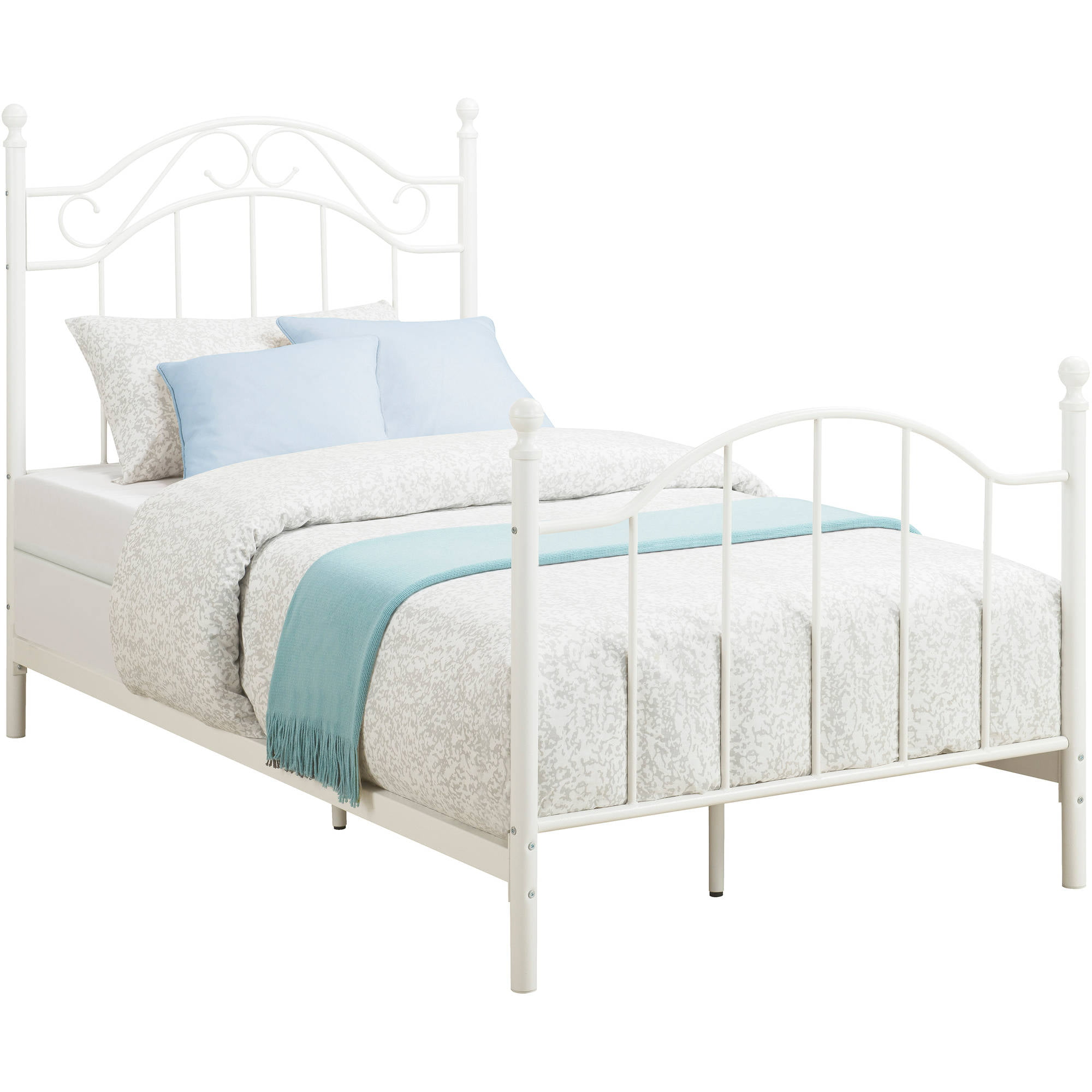 Mainstays Twin Metal Bed White Walmartcom