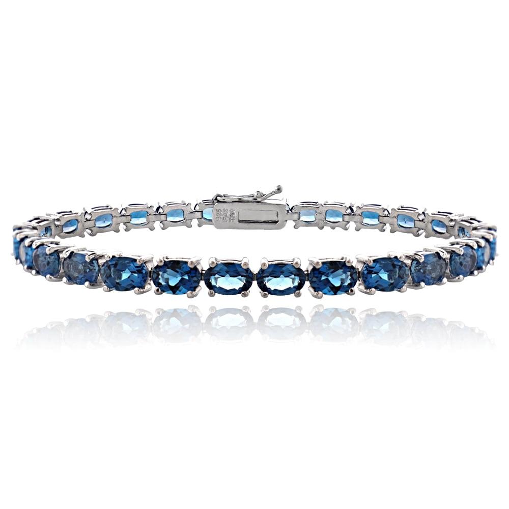 Sterling Silver 16ct London Blue Topaz Oval-Shape Tennis Bracelet by SilverSpeck