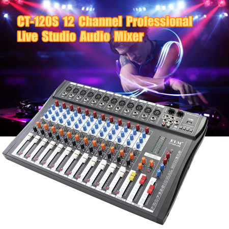 Live Sound Console - CT-120S 12 Channel Professional Live Studio Audio Mixer USB Mixing Console