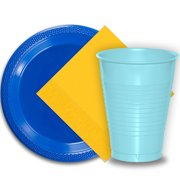"""50 Dark Blue Plastic Plates (9""""), 50 Light Blue Plastic Cups (12 oz.), and 50 Yellow Paper Napkins, Dazzelling Colored Disposable Party Supplies Tableware Set for Fifty Guests."""