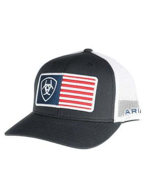 d4035dcc71f0d Product Image Ariat Mens Hat Baseball Cap Mesh Back USA Flag Logo Snapback  Navy Blue 1517603