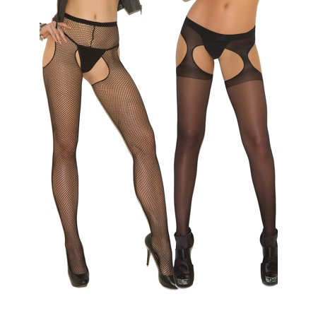 e31a121c4 Angelique - Womens Sexy Sheer Fishnet Crotchless Black Suspender Pantyhose  Hosiery Stockings- 2 Pack - Walmart.com