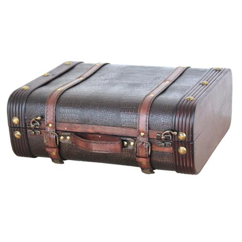 Quickway imports Decorative Faux Gator Leather Suitcase