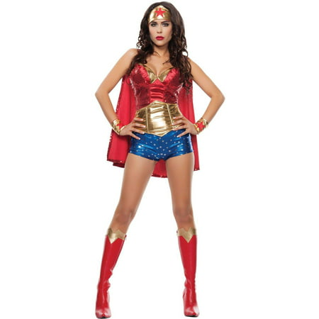 Wonder Lady Women's Adult Halloween Costume, Medium (Wonder Woman Adult Costume)