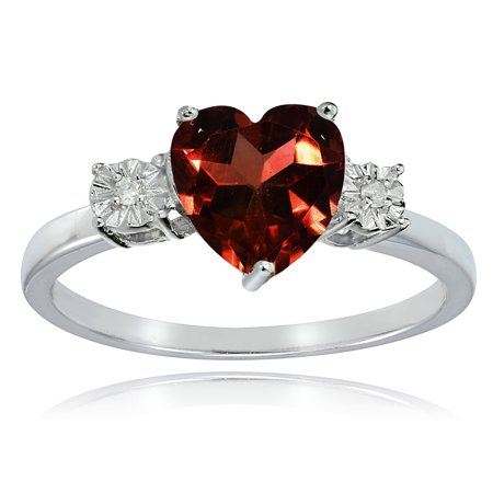 Sterling Silver African Garnet and Diamond Accent Heart Ring ()