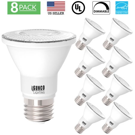 Sunco 8 Pack PAR20 Dimmable Flood LED Light Bulb 7W 2700K, Soft (7w Par20 Led)