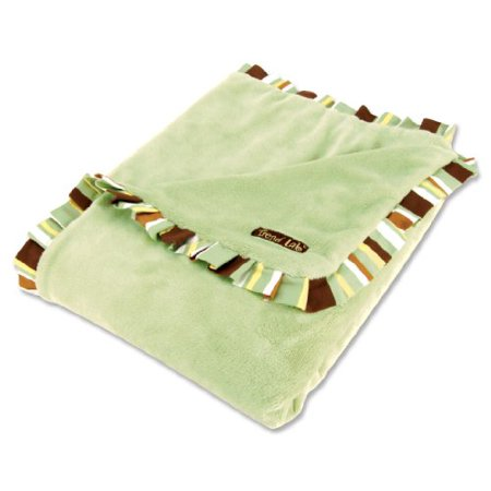 Trend Lab Receiving Blanket in Sage Velour with Gigi Stripe Ruffle