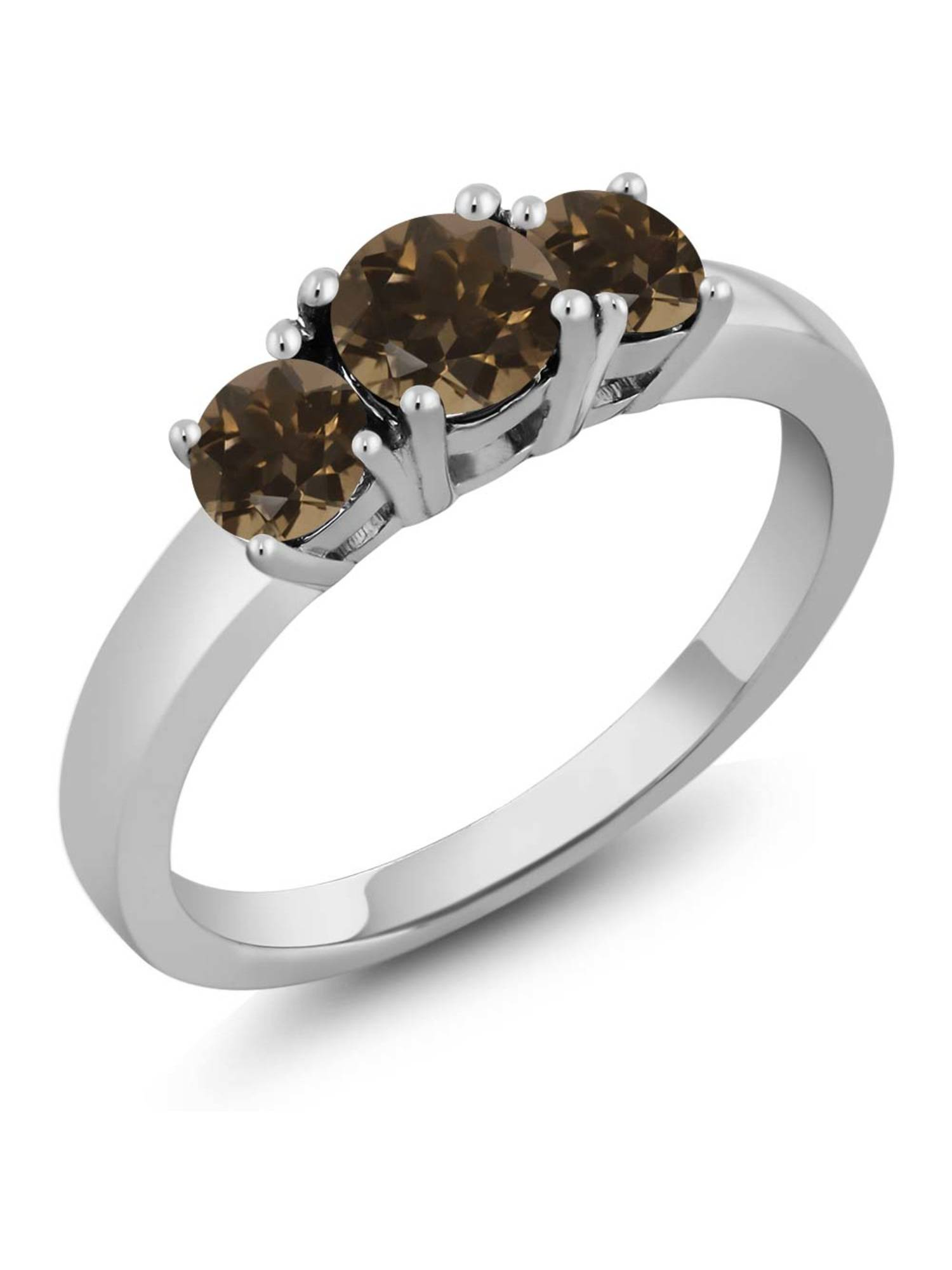 0.98 Ct Round Brown Smoky Quartz 925 Sterling Silver Ring