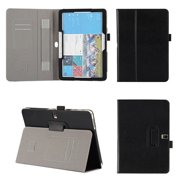 DigitalsOnDemand ® Slim Executive Black Leather Folio Cover Case for Samsung Galaxy Tab Pro 10.1 - Credit Card Holders, Wallet Pouch and Elastic Hand Held Interior Holding Strap