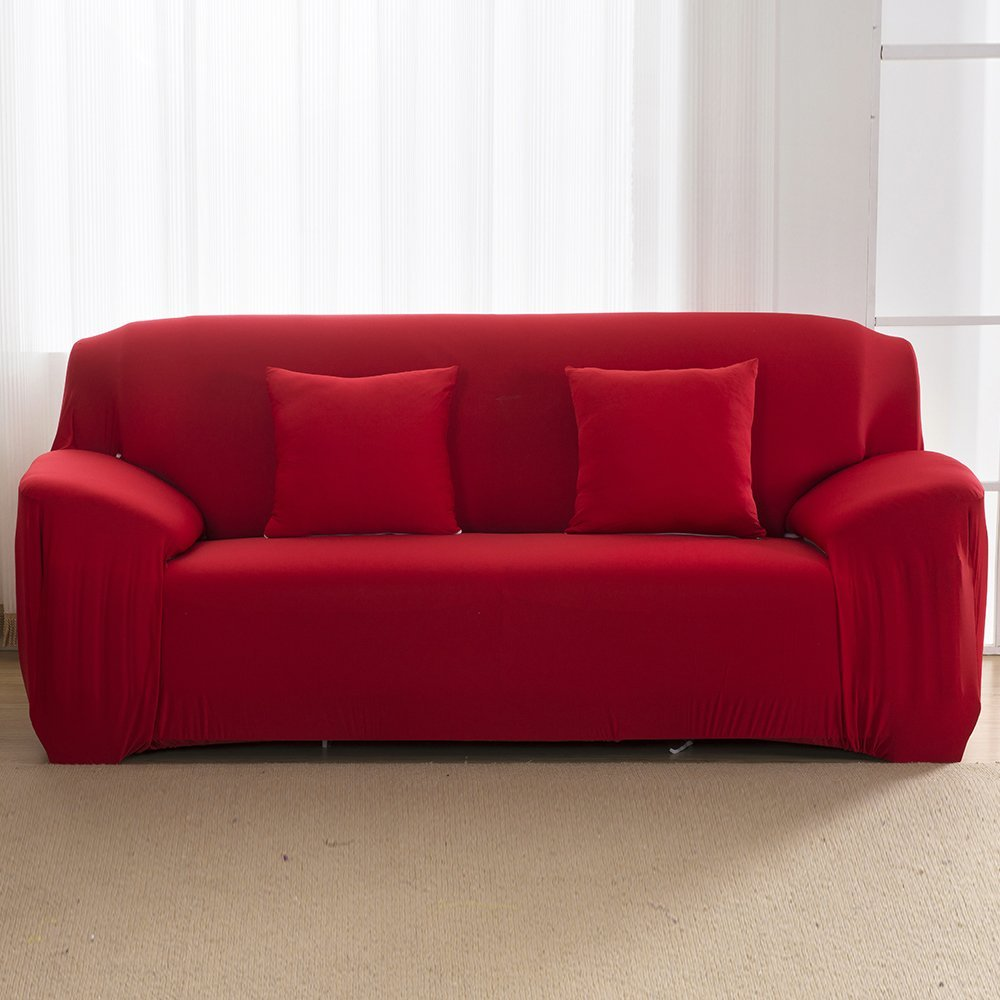 Slipcover 1-Piece stretch fabric Furniture Protector Cover for sofa loveseat and chair,Wine Red