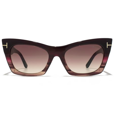 Tom Ford Women's Mirrored Kasia FT0459-71F-55 Black Cat Eye Sunglasses ()