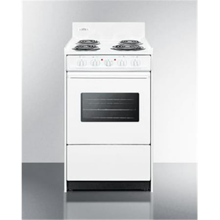 Summit Appliance WEM110W 20 in. Electric Range with Oven Window, Interior Light & Lower Storage Compartment, White 20 Inch Range