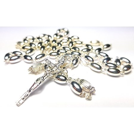 925 Sterling Silver 16.74g Rosary Necklace 6mm Bead Cross Pendant Rosary Chain Made in Italy Elegant - Bead Chain Necklace