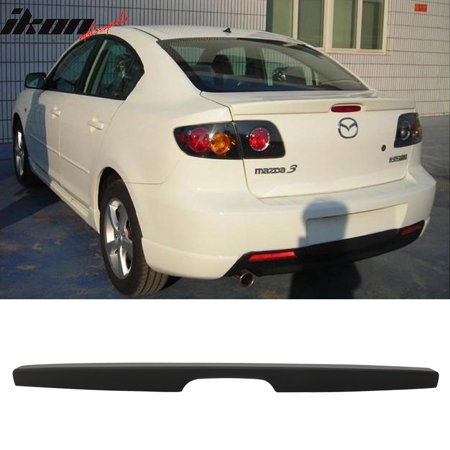 Lip Mount Spoiler - Fits 04-09 Mazda 3 Sedan Flush Mount OE Factory Trunk Spoiler-Matte Black ABS