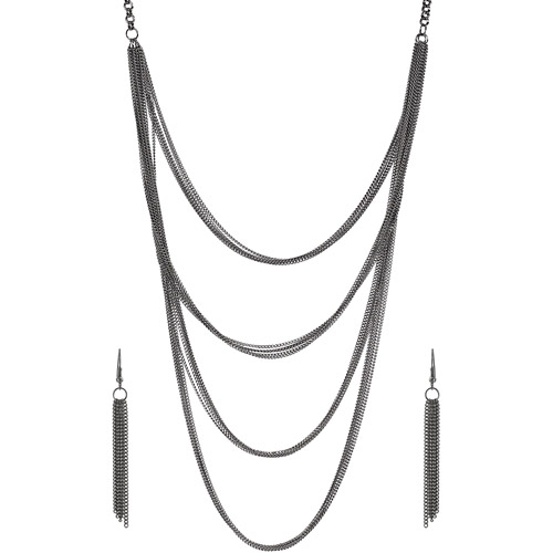 Brinley Co. Women's Rhodium-plated  Chain Mail Necklace and Earring Set