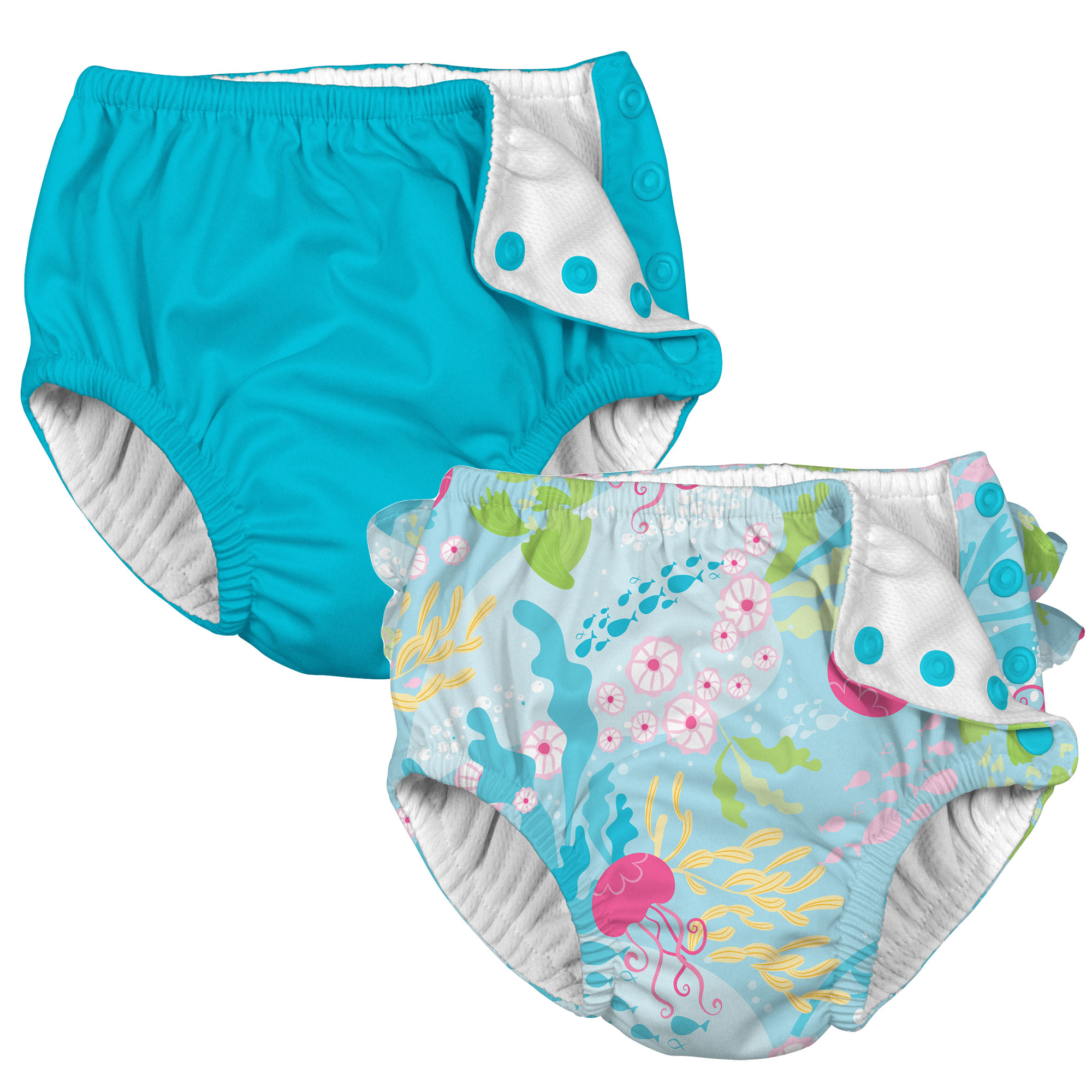i play Baby and Toddler Snap Reusable Swim Diaper - Aqua and Coral Reef - 2 Pack