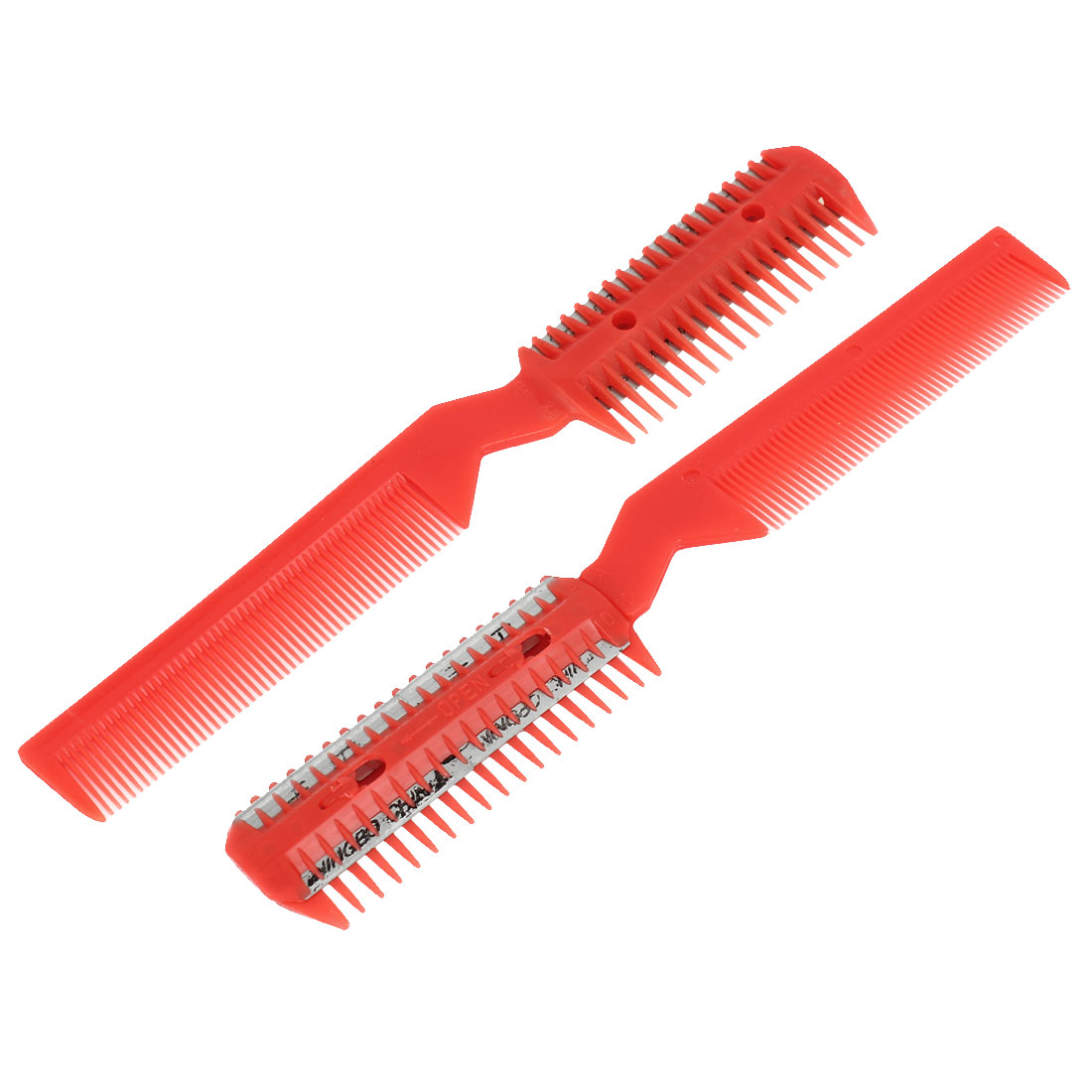 Unique Bargains Women Replacement Razor  Double End Hair Comb Trimmer Cutter Red 2 Pieces