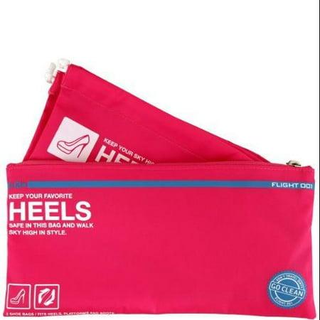 Flight 001 Inc NEW Pink Go Clean Nylon Zip Top Heels Packing Bag Set