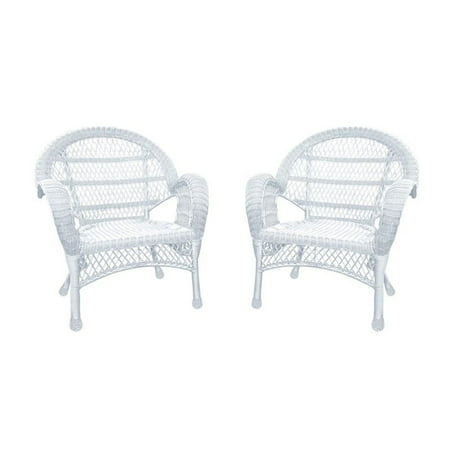 Pemberly Row Wicker Chair in White (Set of 2)