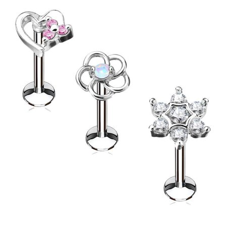 MoBody 3PCS Labret Piercing Studs Set 16G Surgical Steel Internally Threaded Monroe Lip Ring Helix Earring (6mm Length)