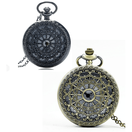Gunmetal Heart - Heart Cut Out Detail Round Pocket Watch - Gunmetal or Bronze Bronze