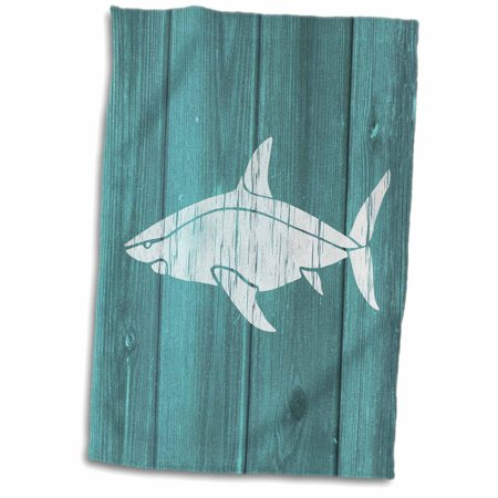 3dRose Photo of White Shark on Blue Wood Effect- not real wood - Towel, 15 by - Real Shark