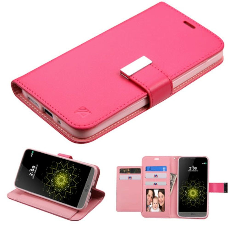 Insten Folio Wallet Case for LG G5 - Hot Pink - Premium PU Leather - ID Credit Card Slot - Kickstand Cover - Ultra Slim Design