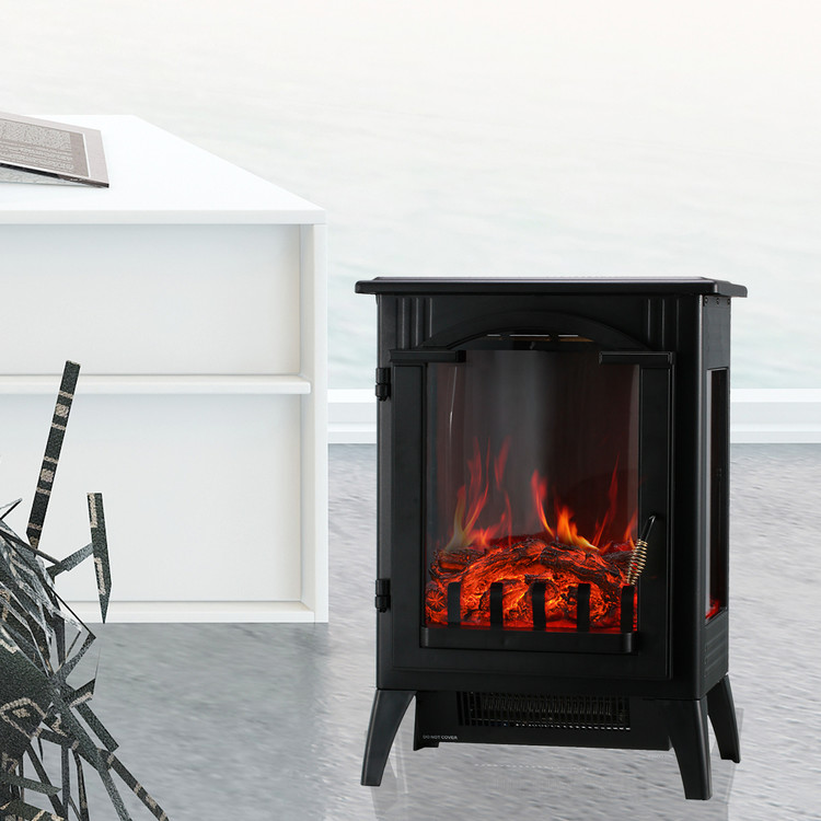 Portable Indoor Home Compact Electric Wood Stove Fireplace Heater, with Thermostat for office and Home 1500W 16.2 W x 10.6 D x 22.8 H, Black
