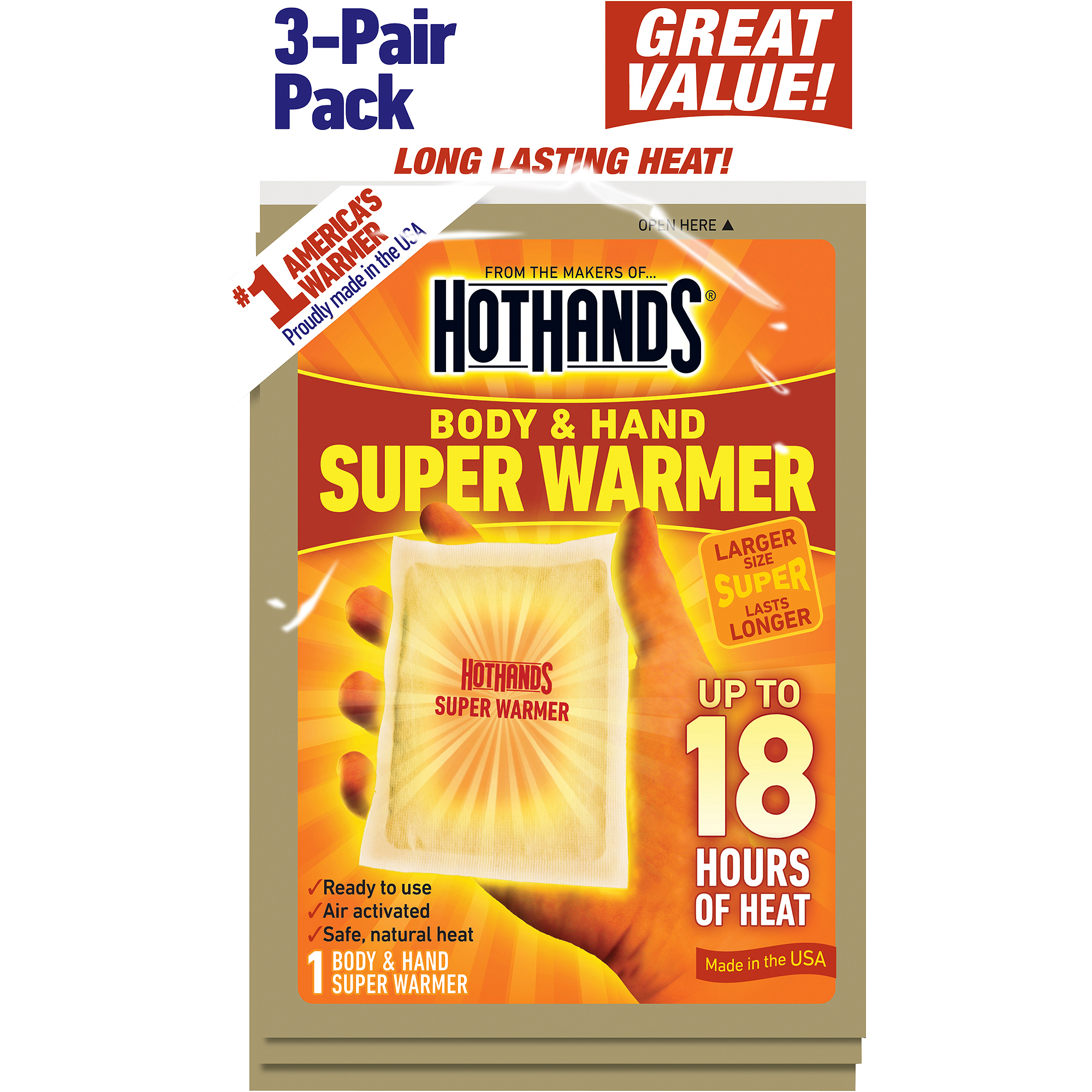 HotHands Body & Hand Super Warmers, 3ct