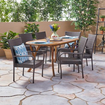 Coraline Outdoor 7-Piece Acacia Wood and Wicker Dining Set