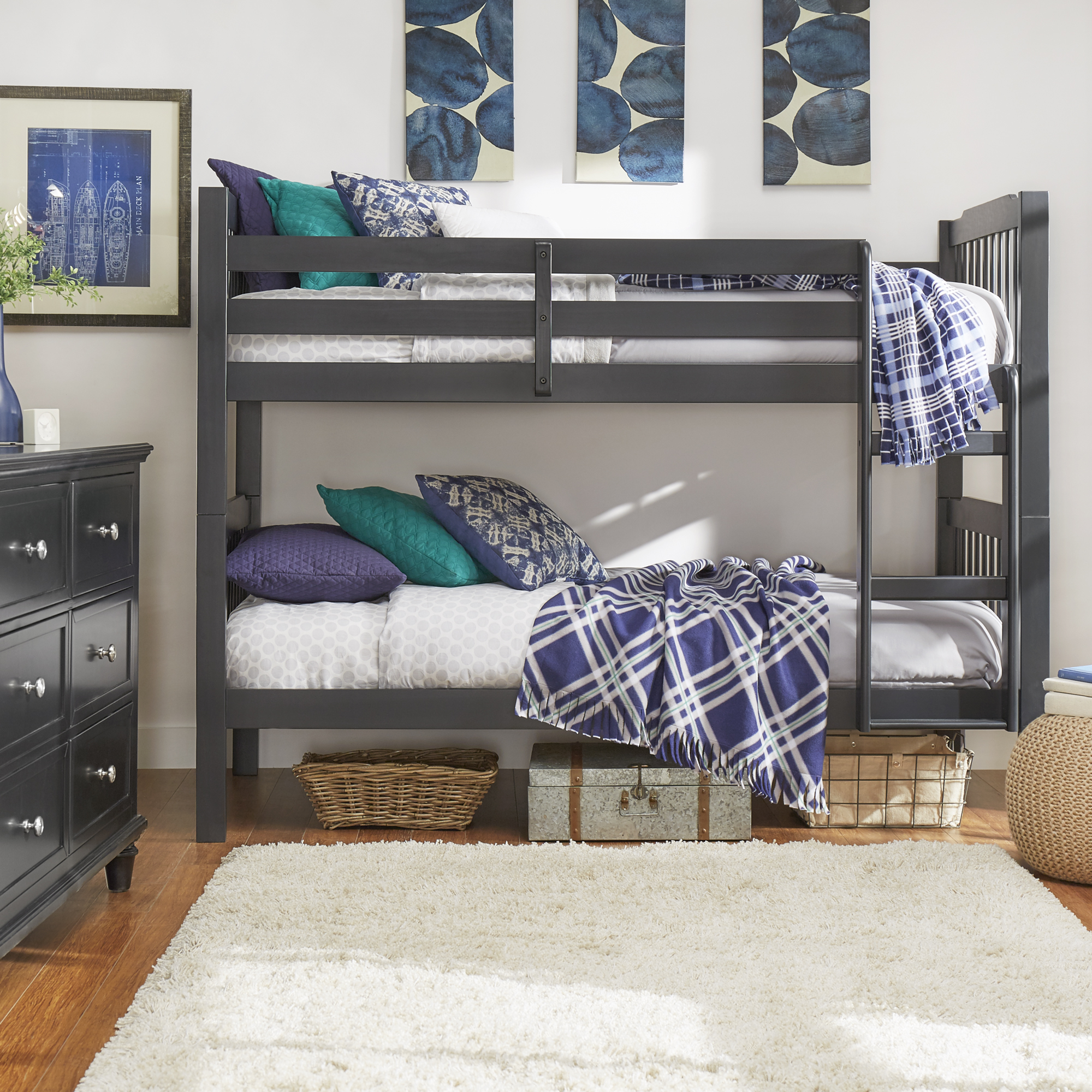 Chelsea Lane Elise Convertible Twin Over Twin Wood Bunk Bed, Multiple Finishes by Weston Home