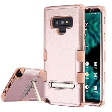 Samsung Galaxy Note 9 Case Tuff Hybrid Shockproof Impact Rubber Dual Layer Hard Soft Protective Hard with Magnetic Metal Stand Case Rose Gold Phone Case for Samsung Galaxy Note -