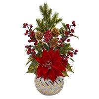 Poinsettia, Berry and Pine Artificial Arrangement in Designer Vase