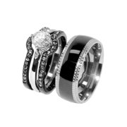 Couple 4 PCS Black IP Stainless Steel CZ Wedding Ring Set/Mens Matching Band- Size W5M8